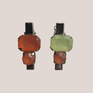 Par de presilhas cristais laranja