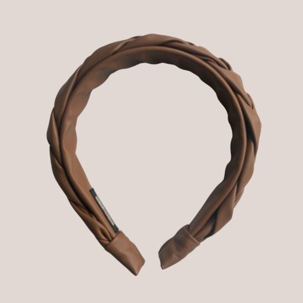 Tiara couro trançada marrom